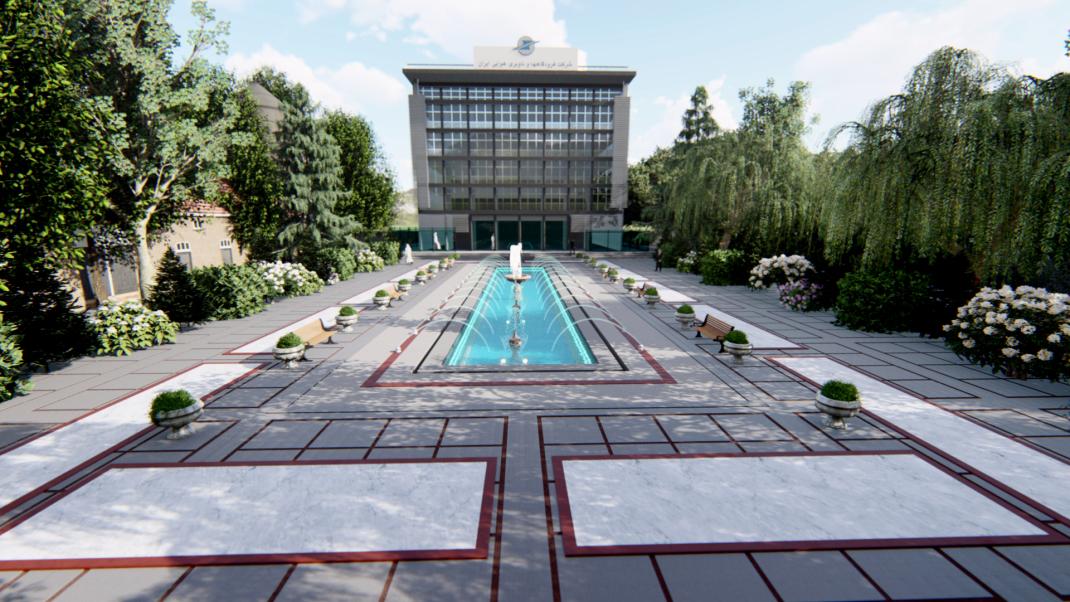 طراحی محوطه شرکت فرودگاههای ناوبری و هوایی ایران